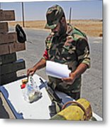 A Rebel Collects His Food Ration Metal Print
