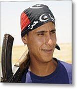 A Rebel Fighter With An Ak-47 Assault Metal Print