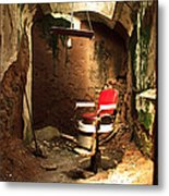 A Red Barber Chair In A Spotlight  Metal Print