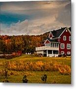 A Red Farmhouse In A Fallscape Metal Print