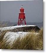 A Red Lighthouse Along The Coast South Metal Print by John Short