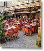 A Restaurant In Sarlat France Metal Print