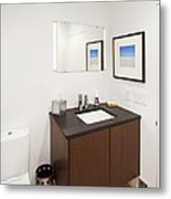 A Restroom Or Bathroom. Toilet Metal Print