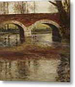 A River Landscape With A Bridge  Metal Print