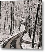 A Road Running Through Snow-covered Metal Print