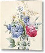 A Rose Anemone Mignonette And Daisies Metal Print