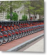 A Row Of Red Bikes Metal Print