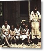 A Rural African American Family Seated Metal Print