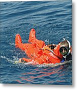 A Sailor Rescued By A Diver Metal Print