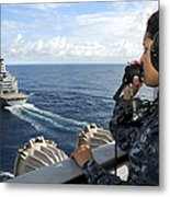A Sailor Stands Forward Lookout Watch Metal Print