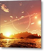 A Scene On A Distant Moon Orbiting Metal Print