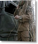 A Scout Observer Applies Camouflage Metal Print