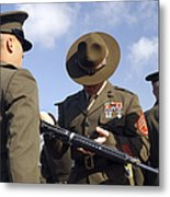 A Senior Drill Instructor Inspects Metal Print