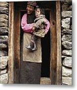 A Smiling Bhutanese Woman And Child Metal Print