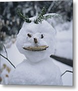 A Smiling Snowman With Twig Arms Metal Print