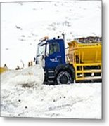 A Snow Plough Clearing A Road Metal Print by Duncan Shaw