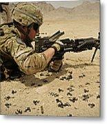 A Soldier Clears The Mk-48 Machine Gun Metal Print