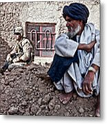 A Soldier Collects Information Metal Print