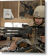 A Soldier Conducts An Observation Metal Print