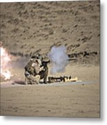 A Soldier Fires A Rocket-propelled Metal Print