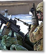 A Soldier Keeps A Close Watch Metal Print