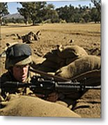 A Soldier Mans His Position At Fort Metal Print