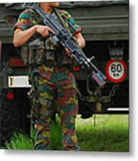 A Soldier Of An Infantry Unit Metal Print