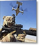 A Soldier Provides Security As An Mv-22 Metal Print