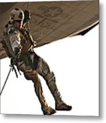 A Soldier Rappels From An Mh-60s Metal Print