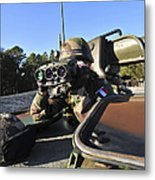 A Soldier Scans The Horizon Metal Print