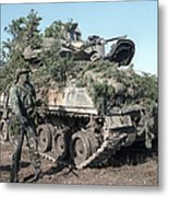 A Soldier Stands Beside A Camouflaged Metal Print
