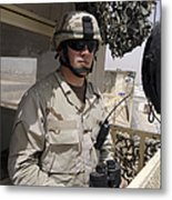 A Soldier Stands Watch At The Camp Metal Print