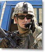 A Soldier Talking Via Radio Metal Print by Stocktrek Images