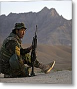 A Soldier With The Afghan National Army Metal Print
