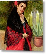A Spanish Beauty Metal Print by John-Bagnold Burgess