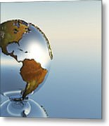 A Sphere Holding North And South Metal Print