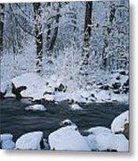 A Stream Running Through Snowy Woodland Metal Print
