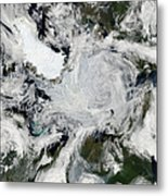 A Strong Storm Lingering In The Center Metal Print