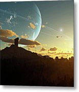 A Sunset On A Forested Moon Which Metal Print