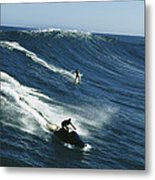 A Surfer And Jet-skier Off The North Metal Print