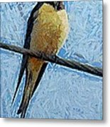 A Swallow On A Wire Metal Print