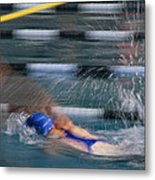 A Swimmer Races Through The Water Metal Print