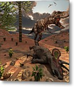 A T-rex Comes Across The Carcass Metal Print