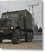 A Tactical Vehicle Is Off-loaded Metal Print