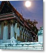 A Tempel In A Wat During A Full Moon Night  Metal Print