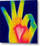 A Thermogram Of A Hand Giving The Ok Metal Print