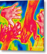 A Thermogram Of A Pile Of Human Hands Metal Print
