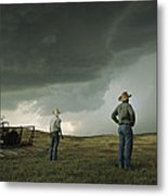 A Thunderstorm Halts Haying As Two Metal Print