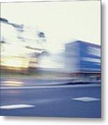 A Tractor Trailer Speeding Metal Print