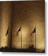 A Twilight View Of American Flags Metal Print